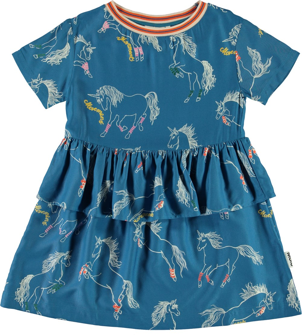 Cammy - Sporty Unicorns - Blue dress with unicorn print
