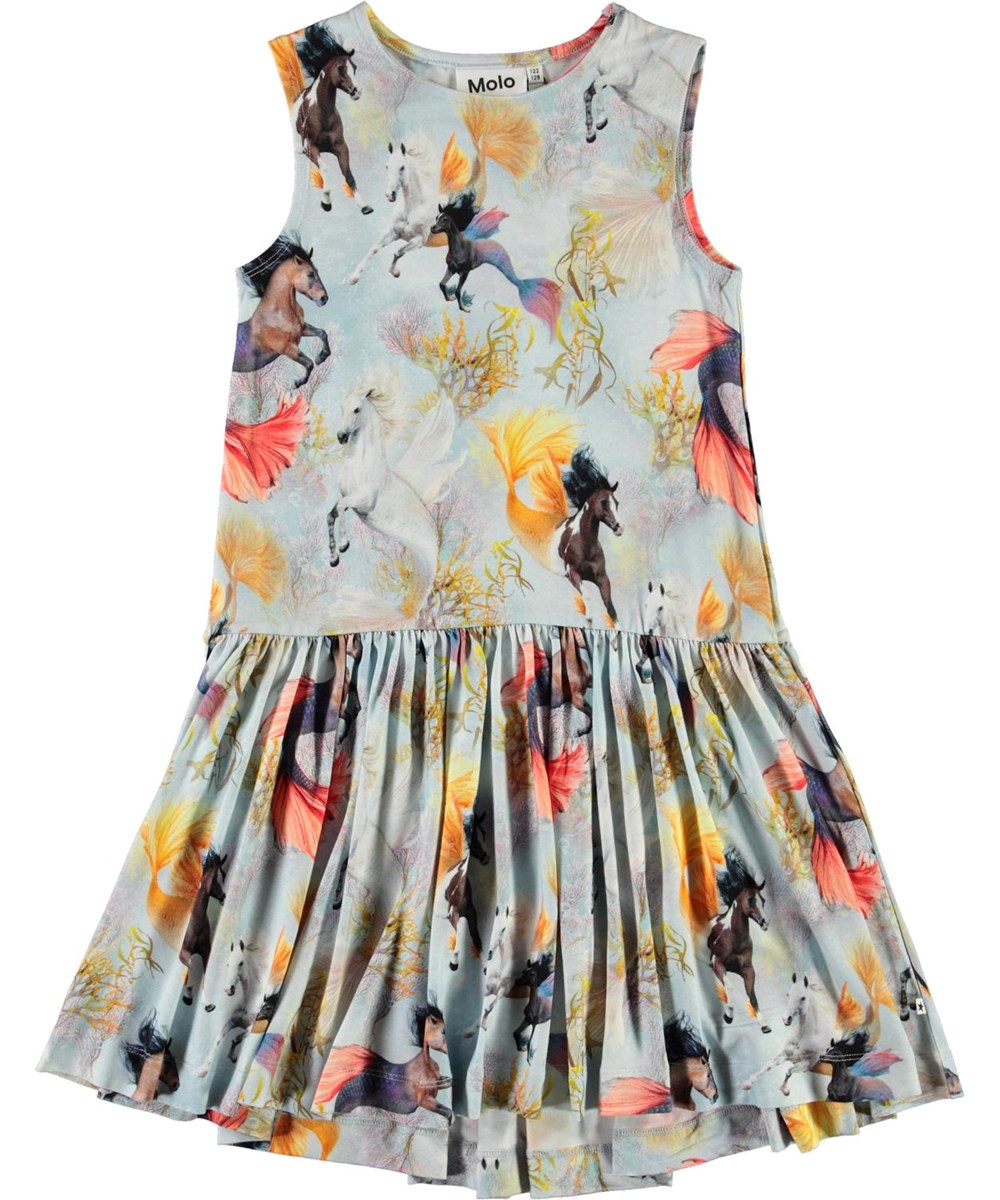 Candece - Horses Of The Sea - Light blue dress with horse print