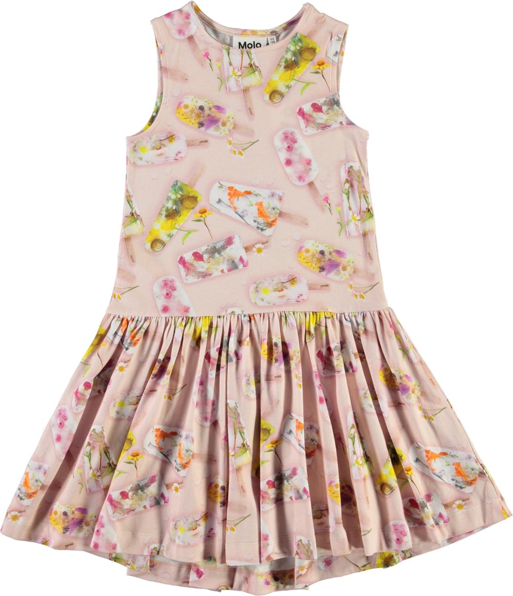 Candece - Ice Lollies - Pink organic dress with ice cream