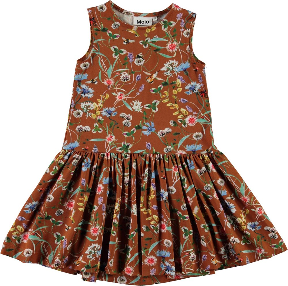 Candece - Wildflowers - Brown organic dress with floral print
