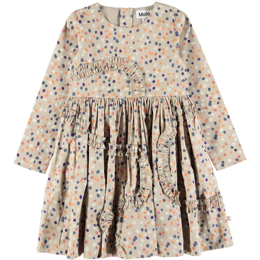 Candice - Confetti - Beige coloured poplin dress with dots and ruffles