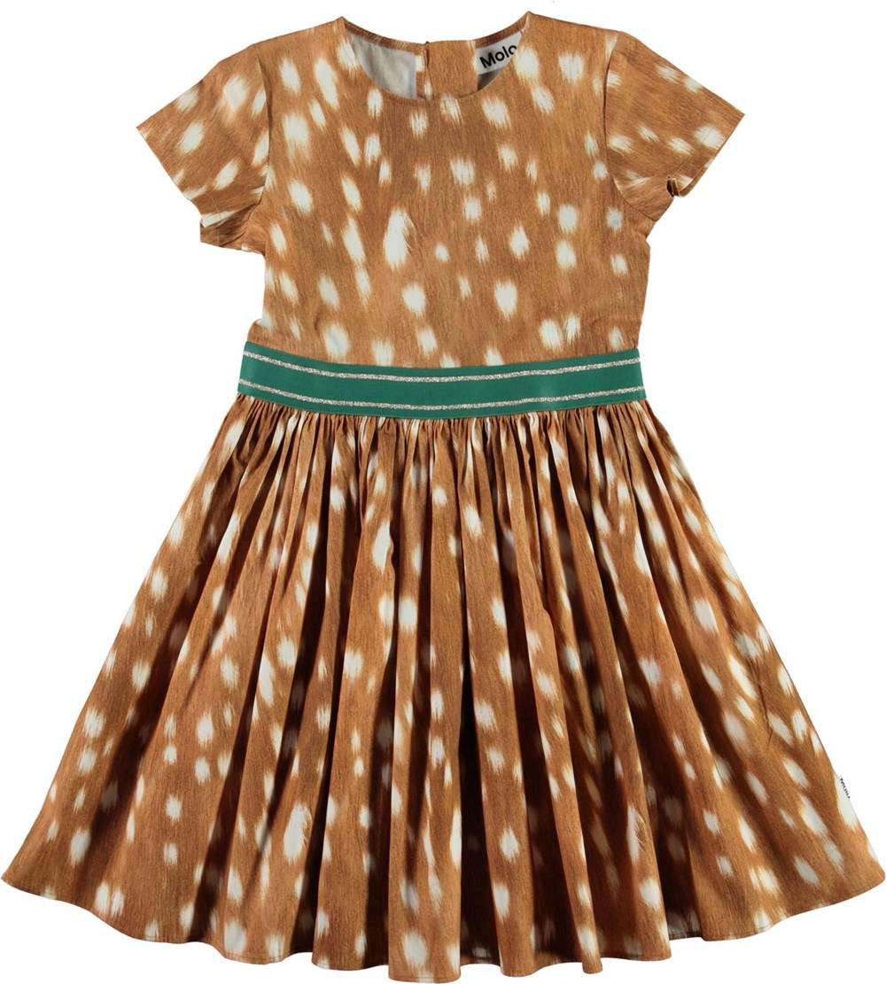 Candy - Fawn AOP - Brown organic dress with spots