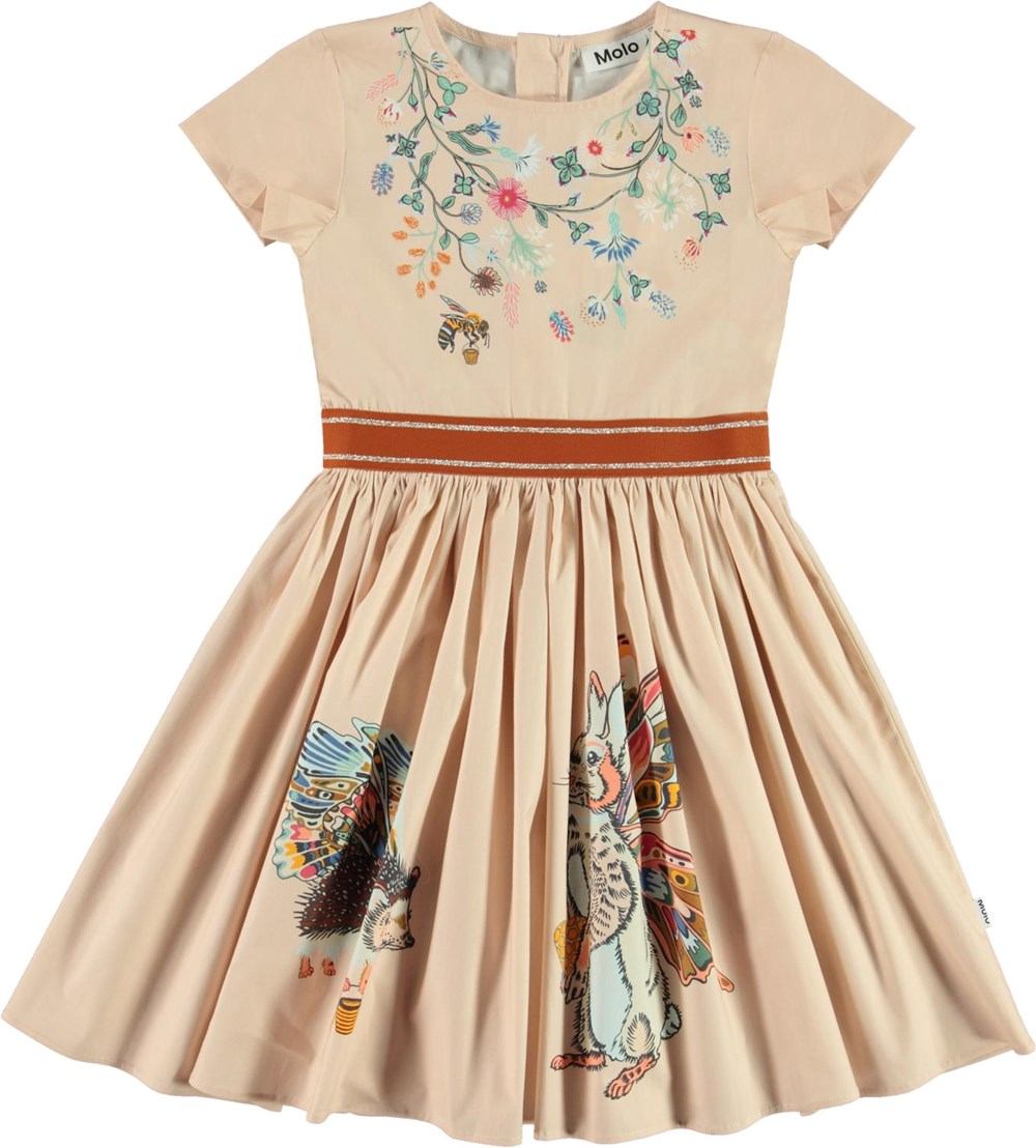 Candy - Hedge Animals - Pink organic dress with rabbit and porcupine