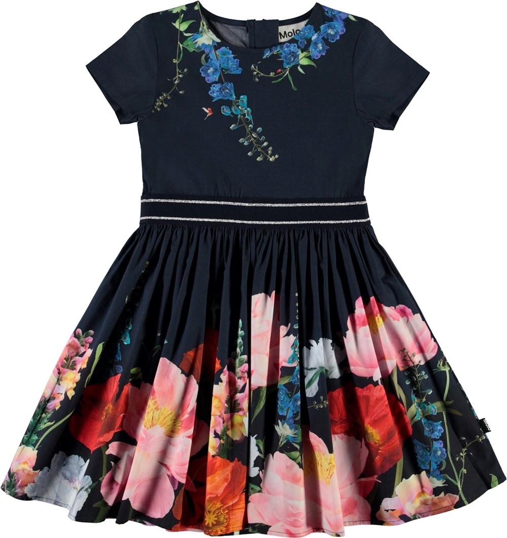 Candy - In Bloom - Dark blue organic dress with flowers