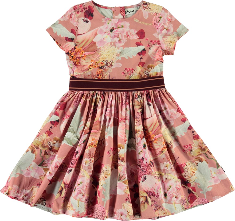Candy - Winter Bouquet Rose - Organic dress with floral print