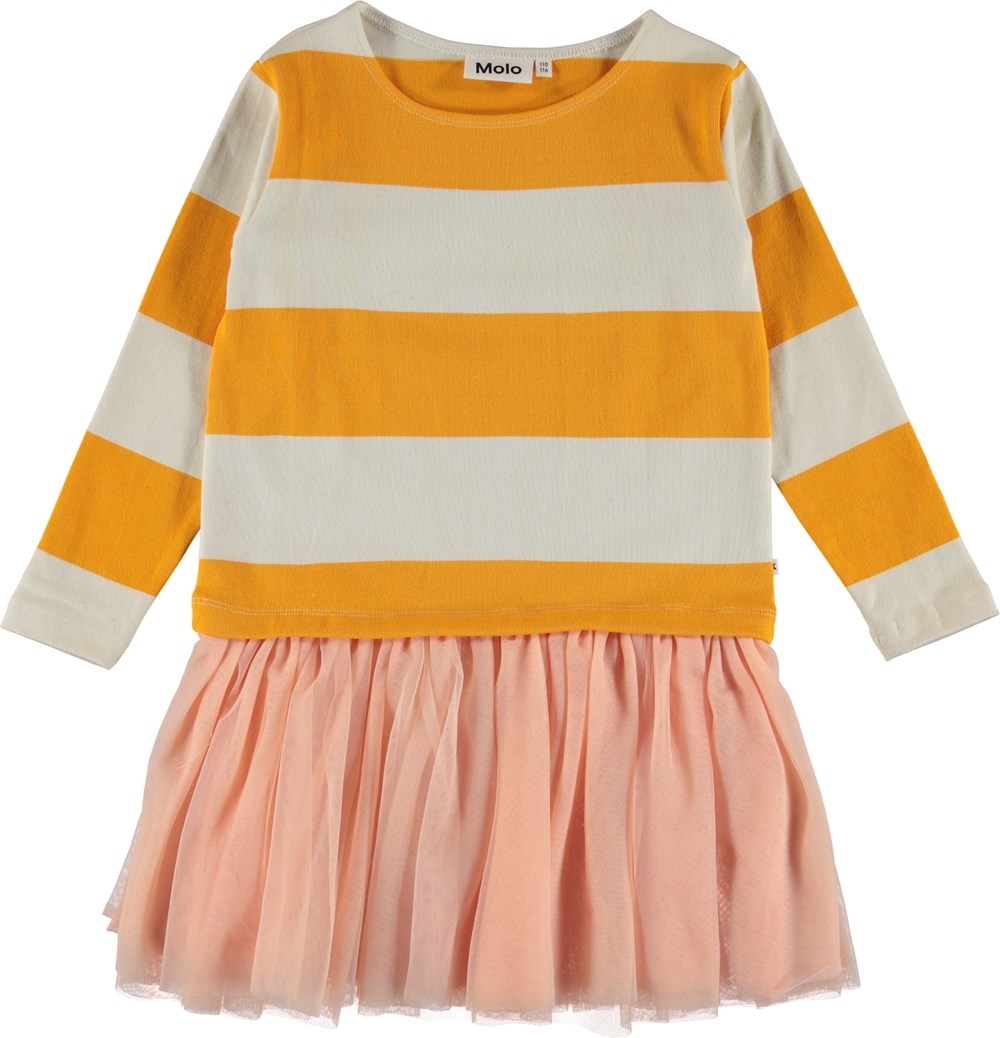 Canna - Orange Bloom Stripe - Striped dress with tulle skirt.