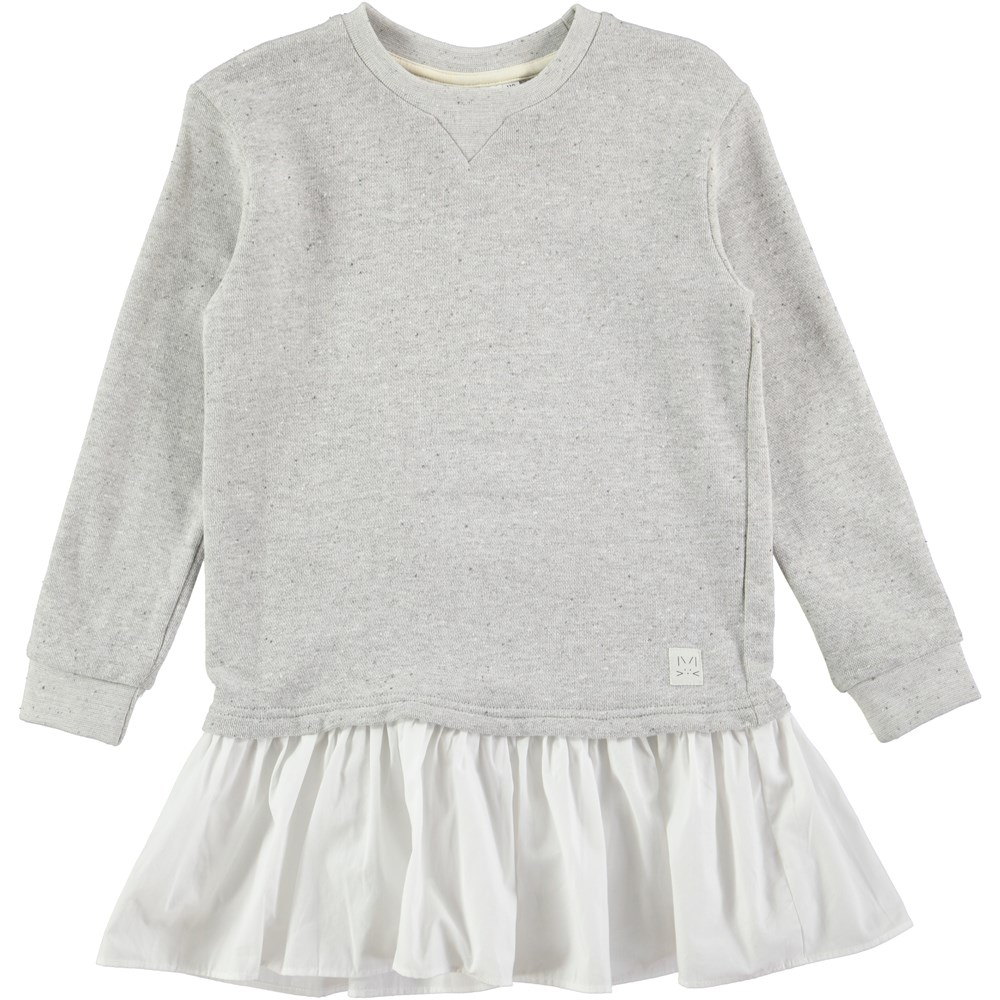 Caprice - Grey Melange - long sleeve sweatshirt dress with a skirt