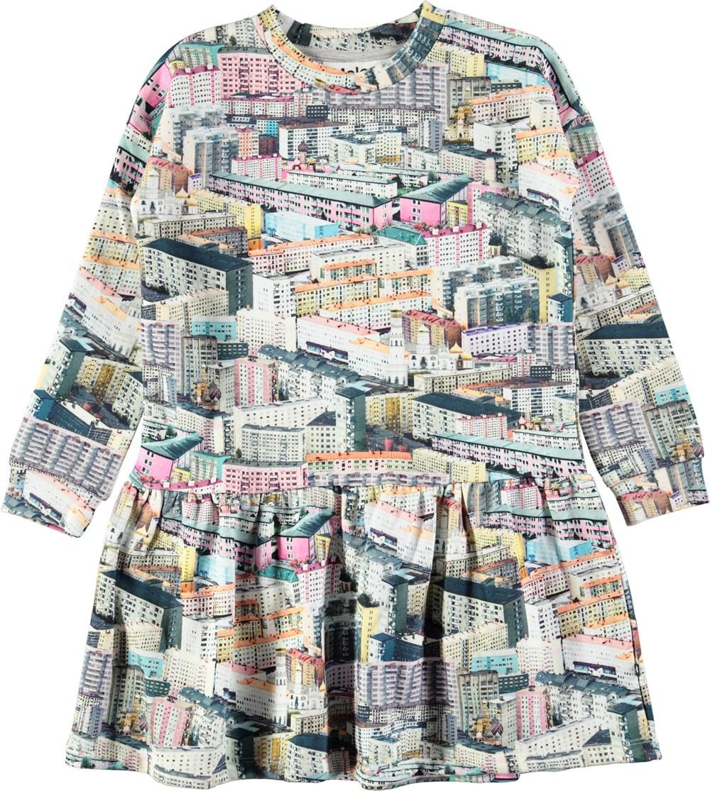 Cara - Pastel City - Oversized sweatshirt dress with digital pastel city print
