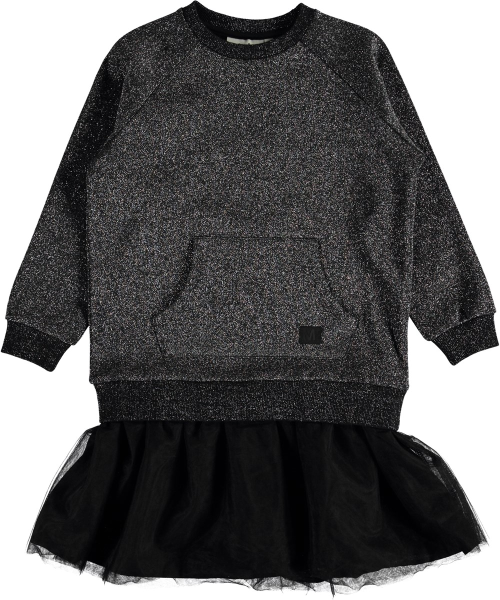 Carasala - Silver Black - Sweatshirt dress with tulle.