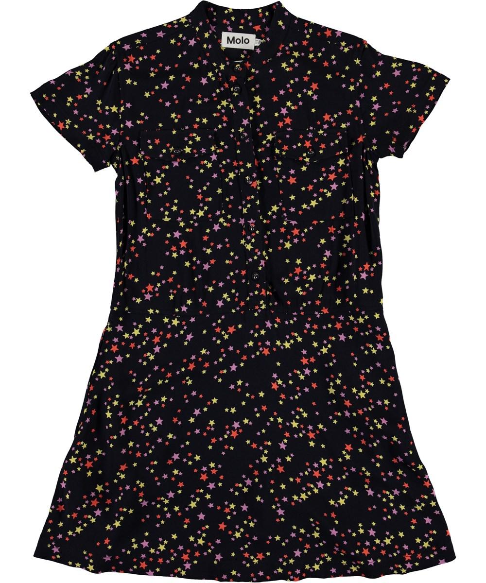 Caris - Starry Sky - Black shirt dress with star print
