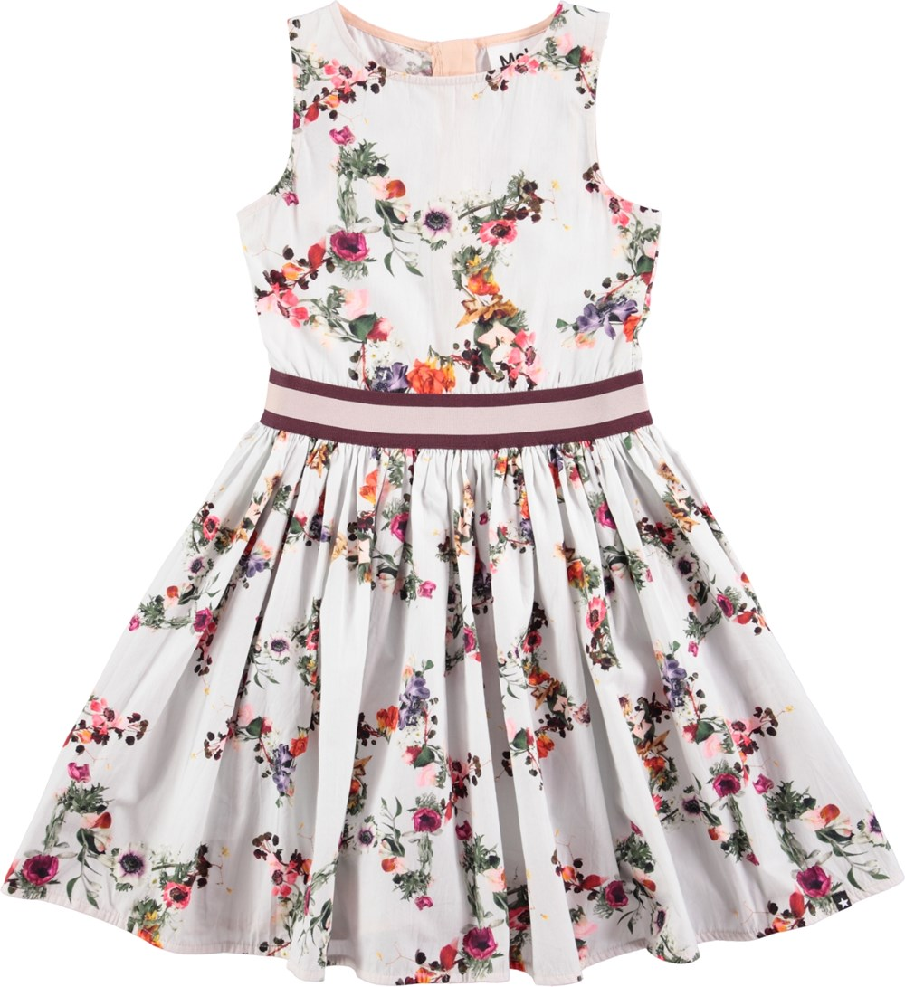 267be65bf62d Carli - Flower Stars - sleeveless white dress with digital flower ...
