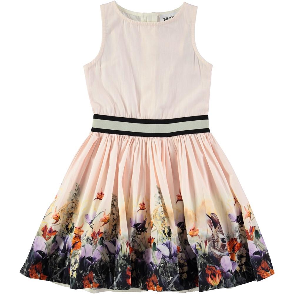 Carli - Hiding Away - sleeveless peach coloured dress with flowers