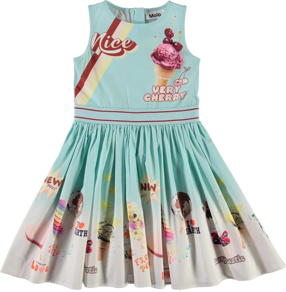 Carli - Icecream Shop - Blue organic dress with ice cream print