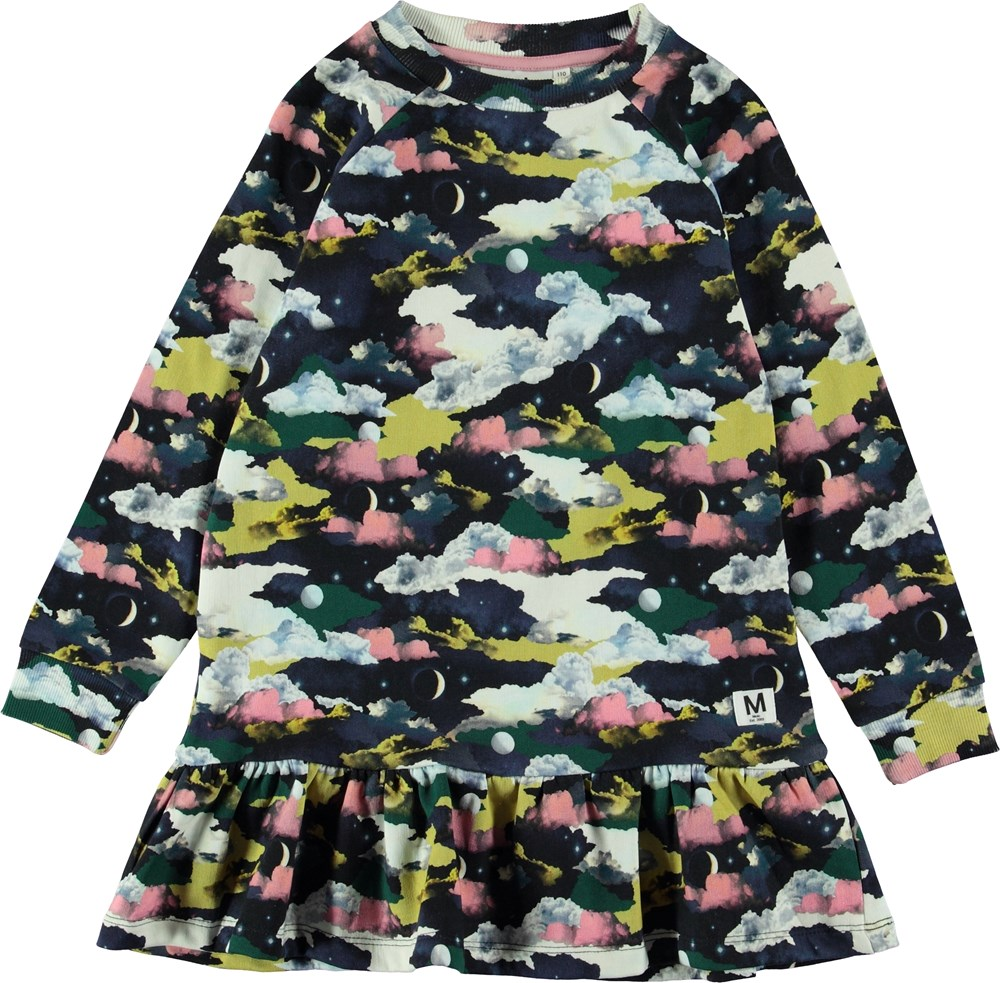 Carlotta - Mini Moons - Sweatshirt dress with clouds.