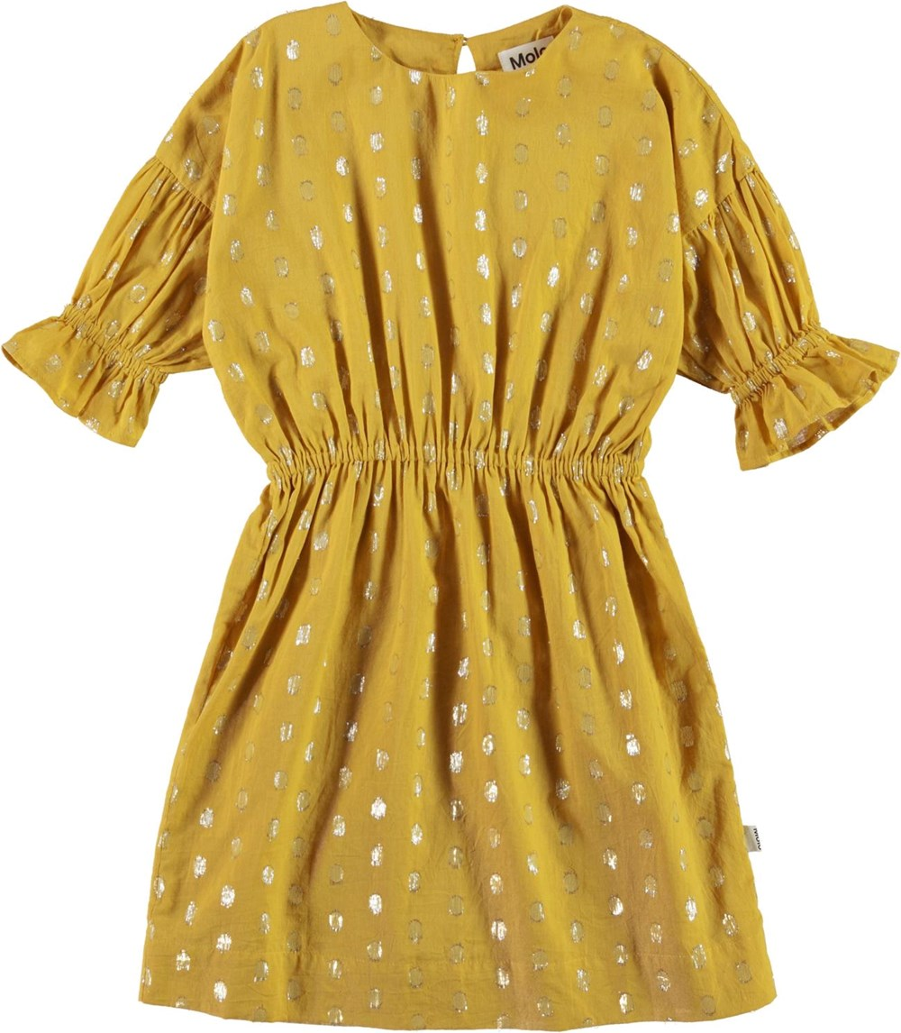 Carlys - Nugget Gold - Yellow dress with gold dots