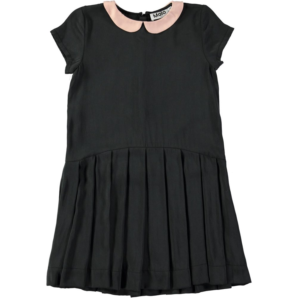 Carma - Black - Black cupro dress with a rose coloured collar