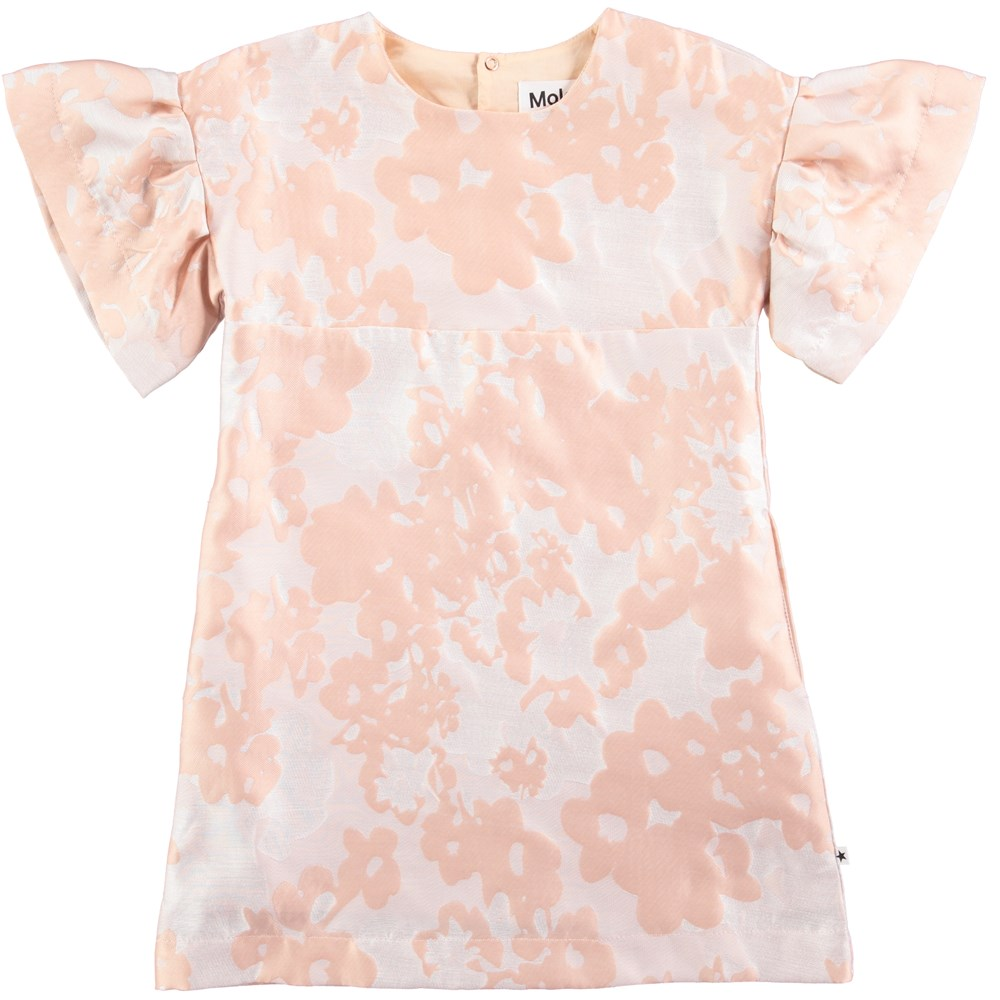 Carrie - Cameo Rose - powder coloured short sleeve jacquard dress