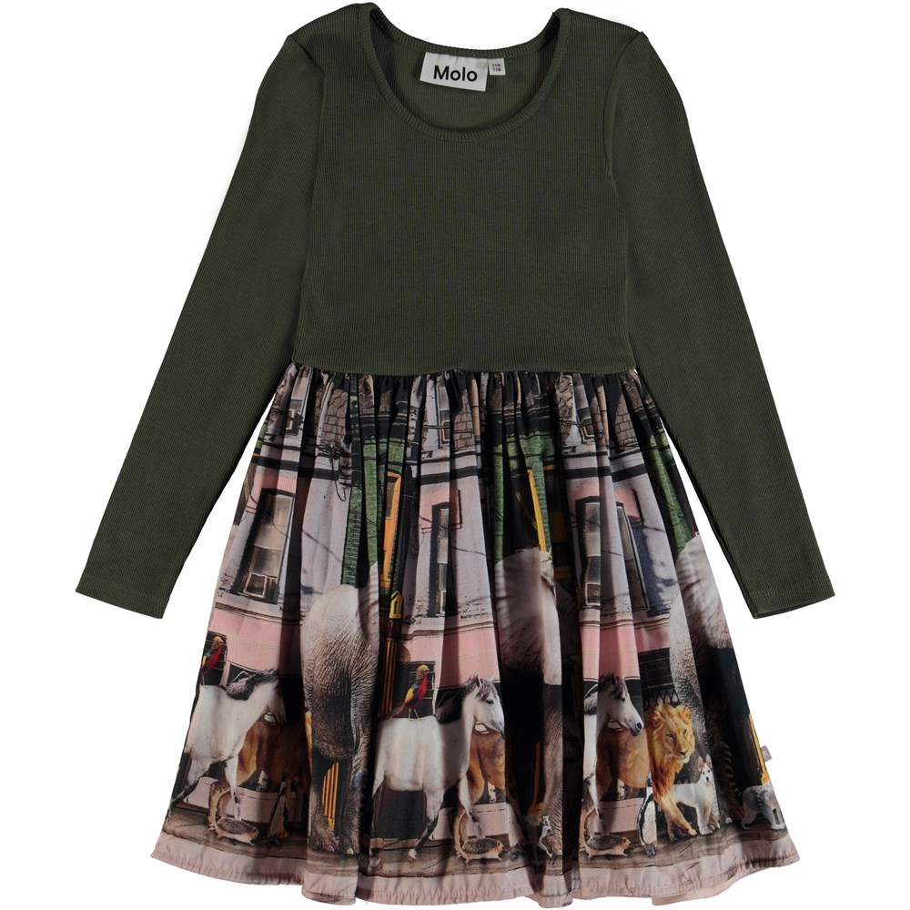 Casie - Evergreen - Two-part dress with print.