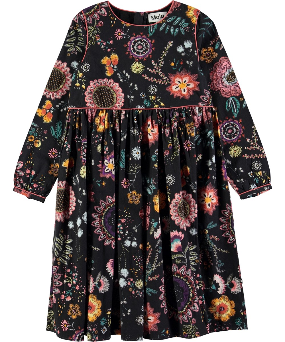 Cassiopeia - Floral Embroidery - Black poplin dress with digital flower embroidery print