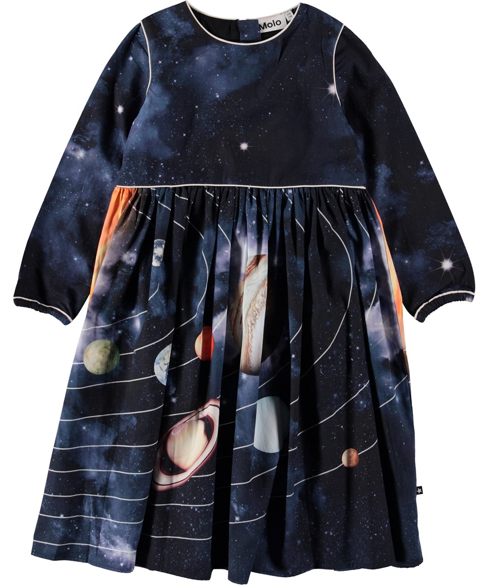 Cassiopeia - Solar System - Dark blue dress with planets.