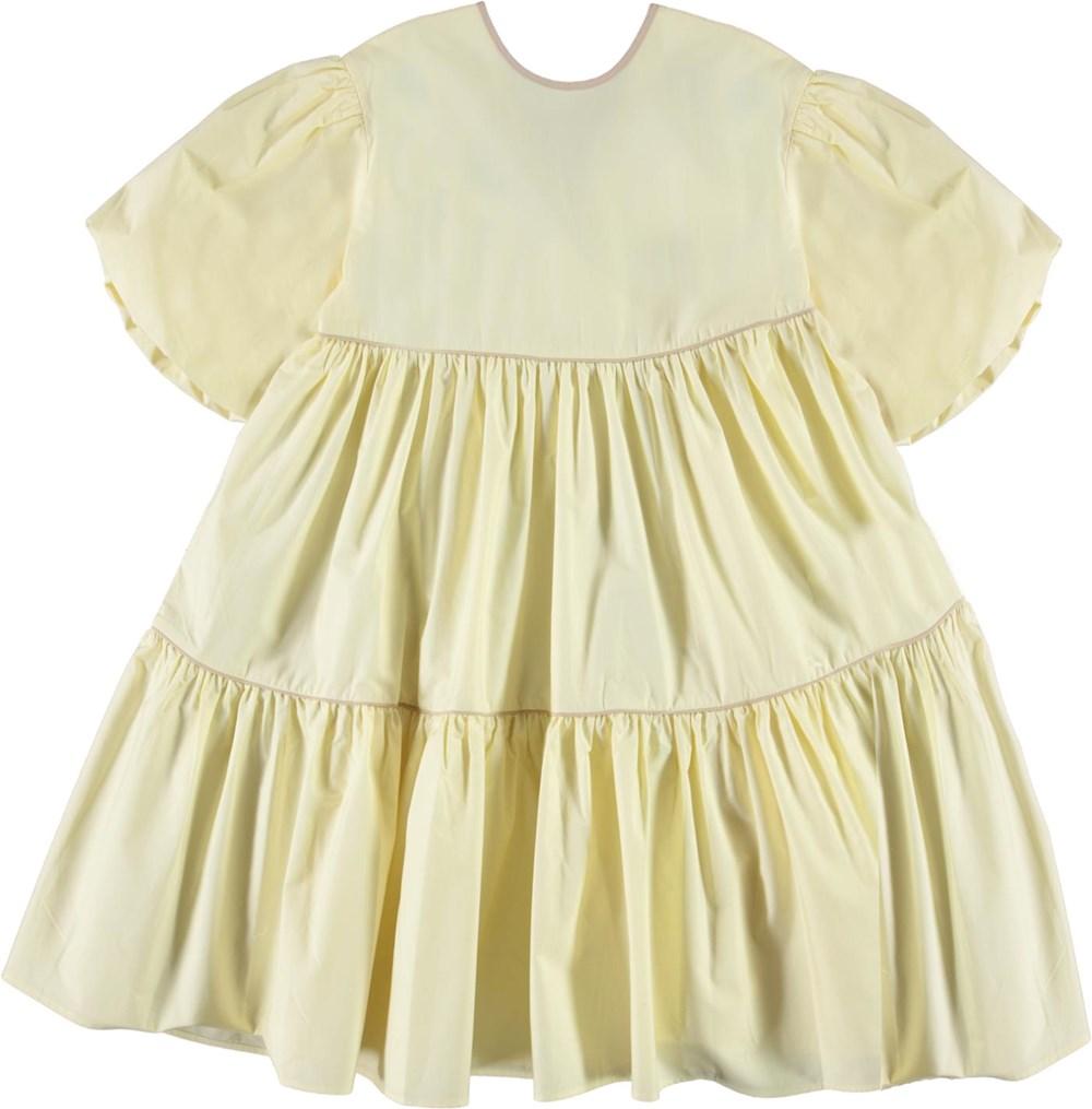 Casta - Marzipan - Light yellow organic dress with puff sleeves