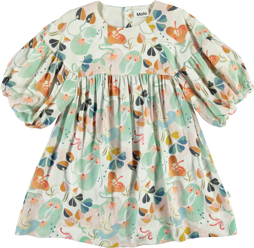 Catherine - Papercut Flowers - Pastel coloured dress with puff sleeves