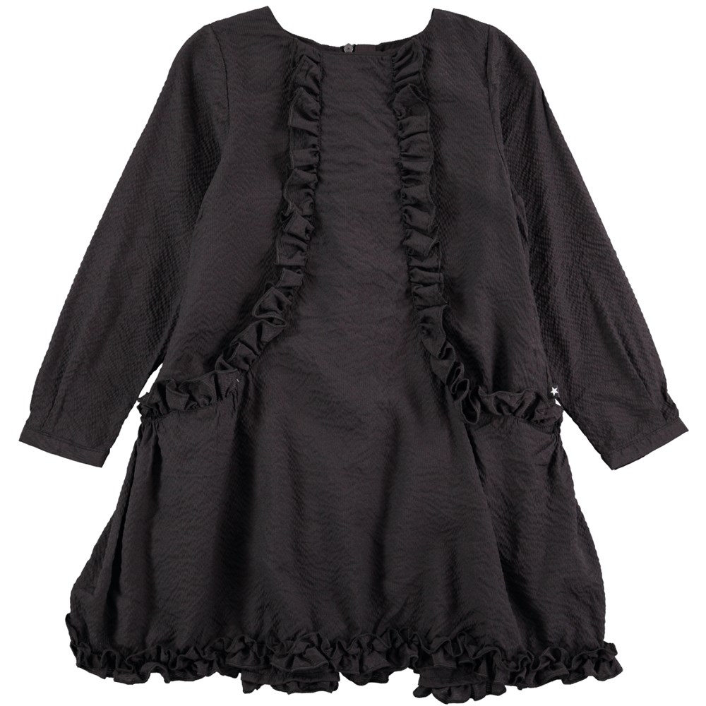 Cathi - Black Bean - long sleeve black dress with ruffles