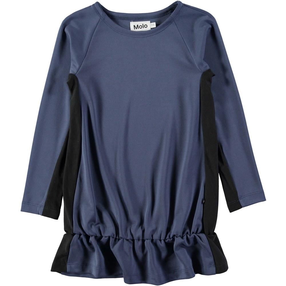 Caya - Chalk Blue - Longsleeve blue dress with a shiny surface