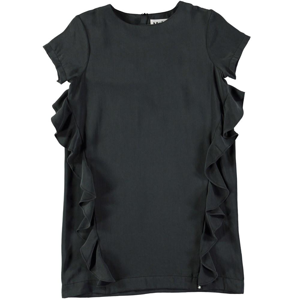 Caysa - Black - Black cupro dress with ruffles