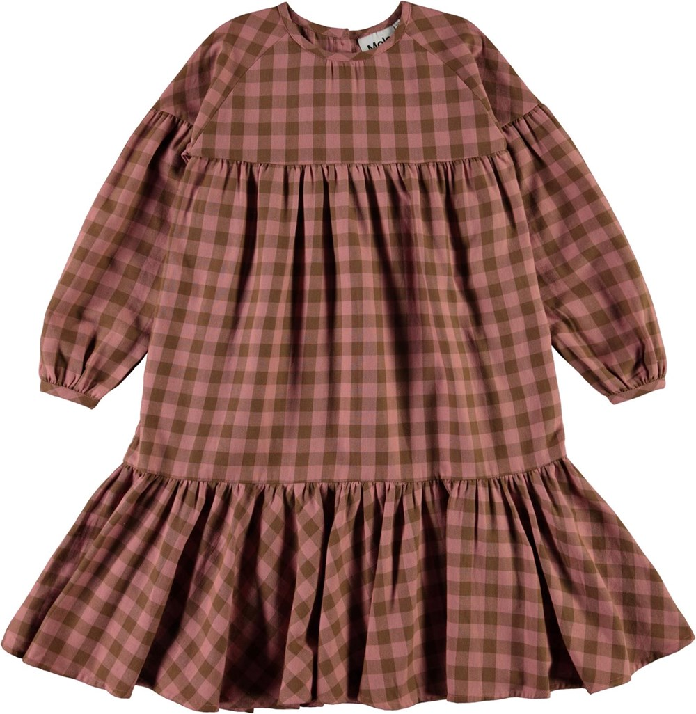 Cecily - Autumn Check - Brown and pink plaid dress