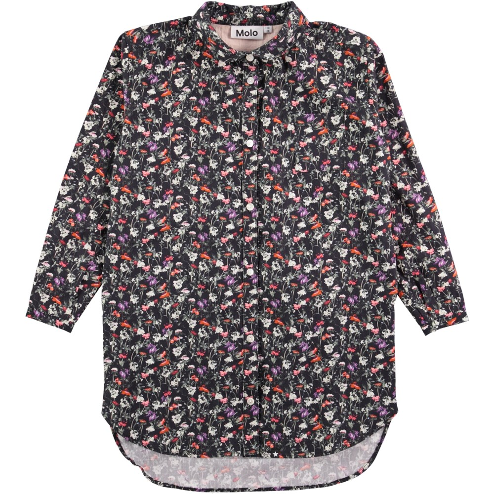 Cerena - Tiny Flowers Poplin - long sleeve shirt dress with flowers