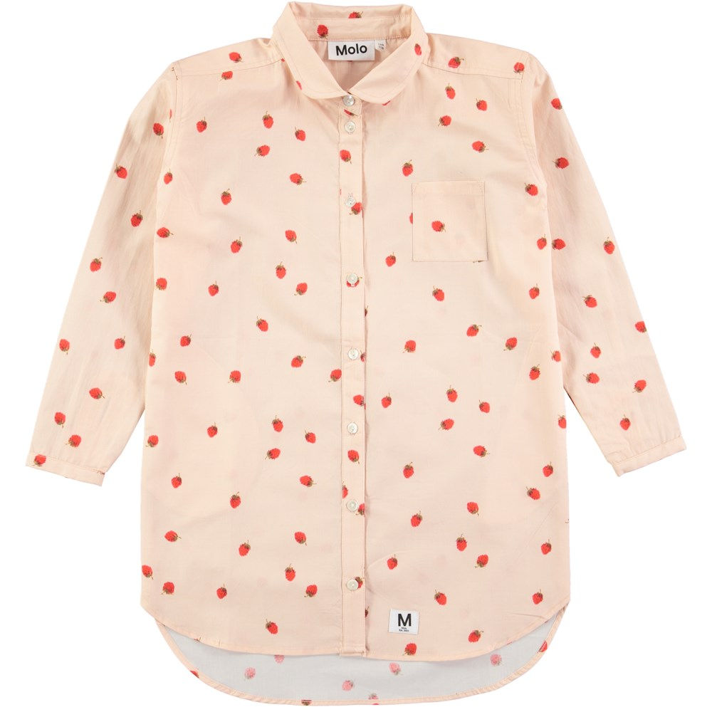 Cerena - Wild Strawberries - Long sleeve pink shirtdress with strawberry print