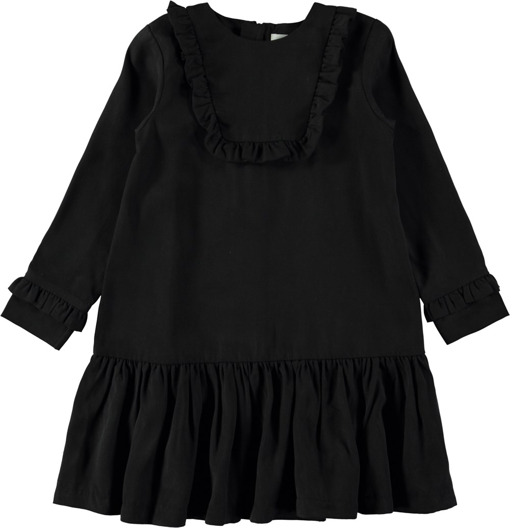 Chane - Black - Black, loose-fit dress with ruffles