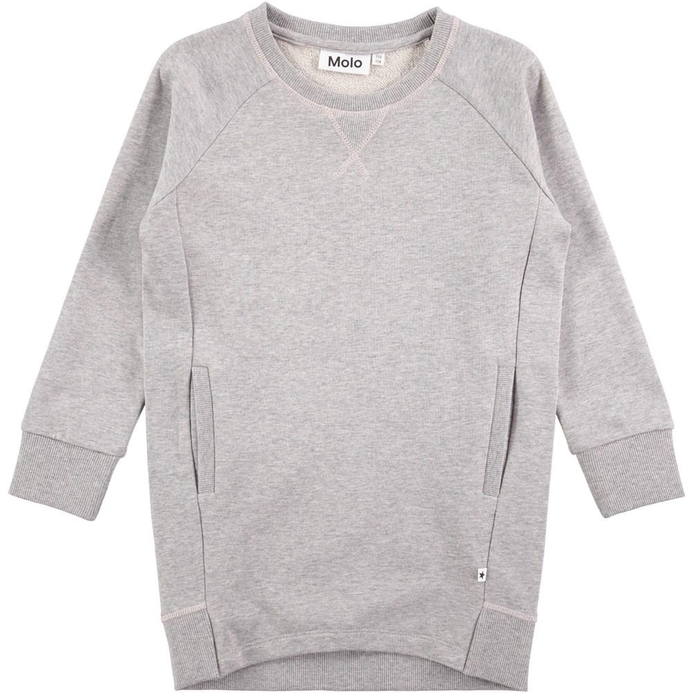 Chantal - Grey Melange - long sleeve grey sweatshirt dress