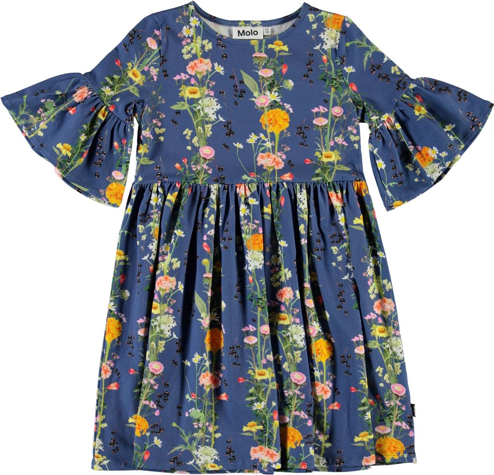 Chasity - Vertical Flowers - Blue organic dress with flowers