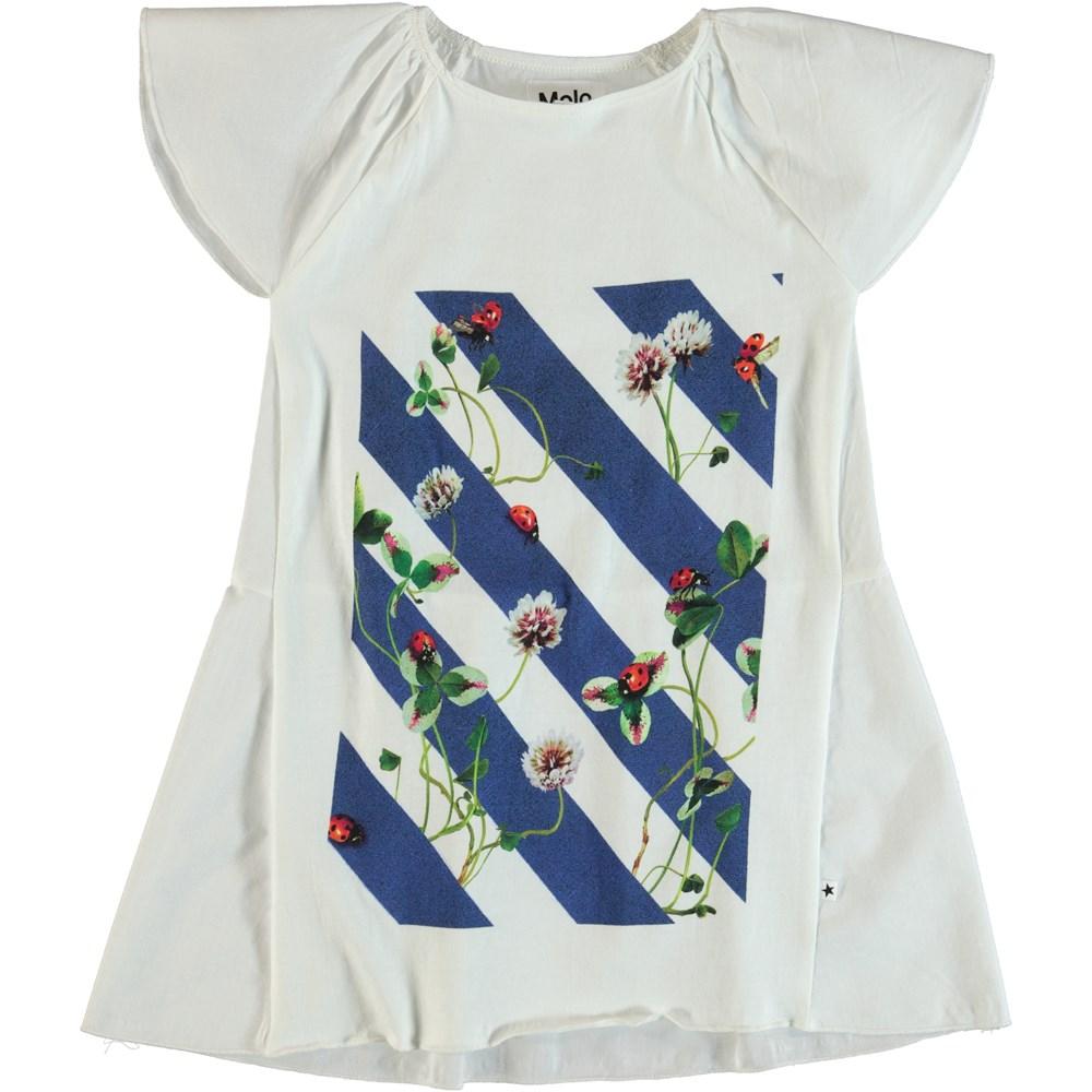 Chelsey - Clover On Stripe - Short sleeve summer dress.