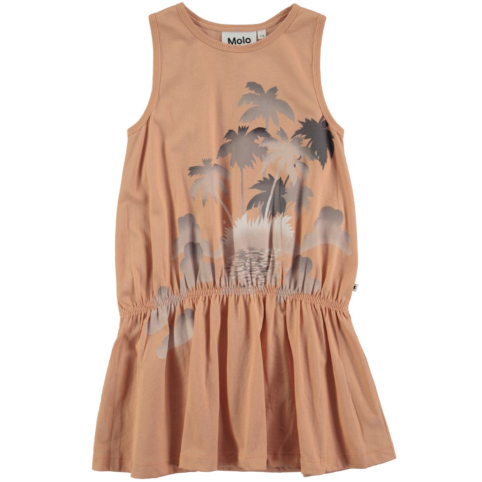 Cherice - Pink Sand - Sleeveless dress with palm tree print