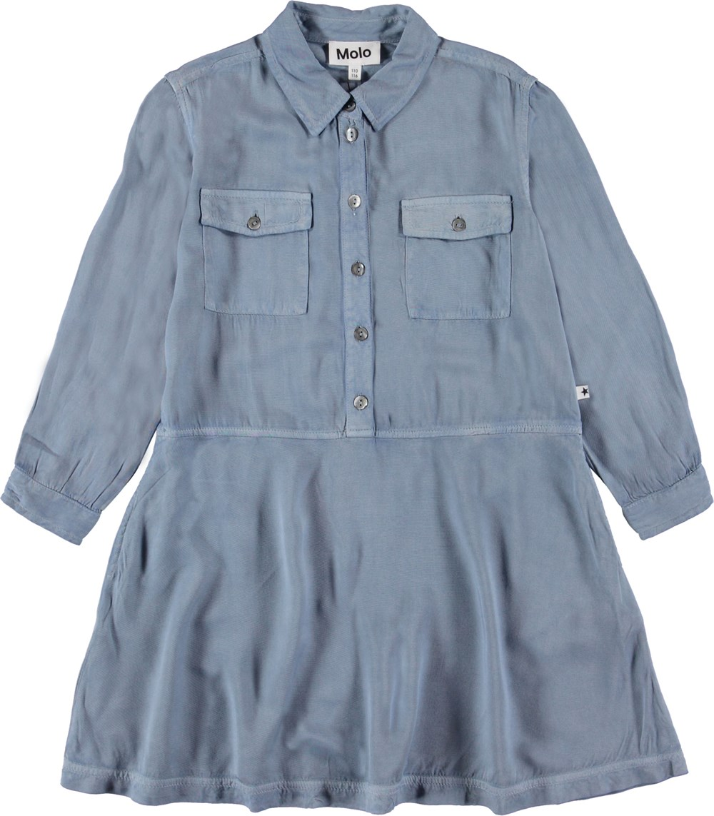 Chevonne - Winter Sky - Blue shirt dress.