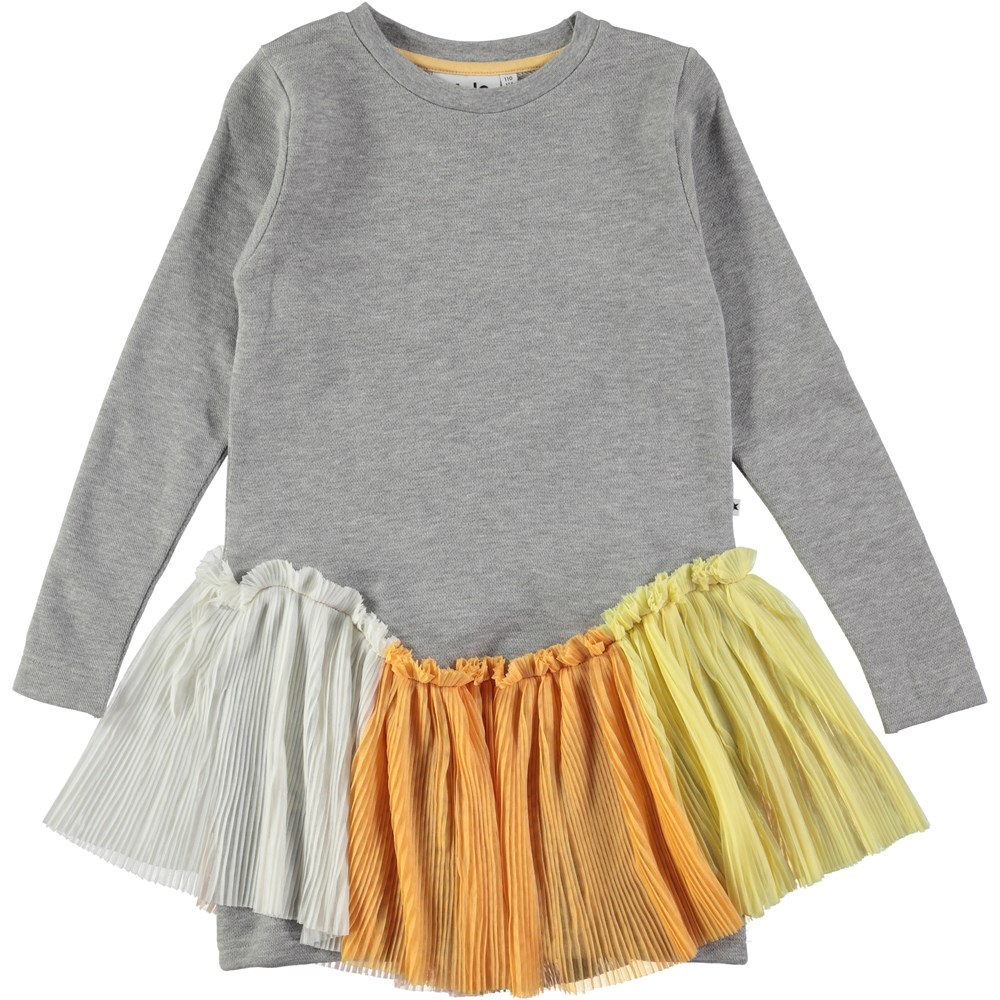 Chey - Tull Rainbow - grey sweatshirt dress with tulle skirt