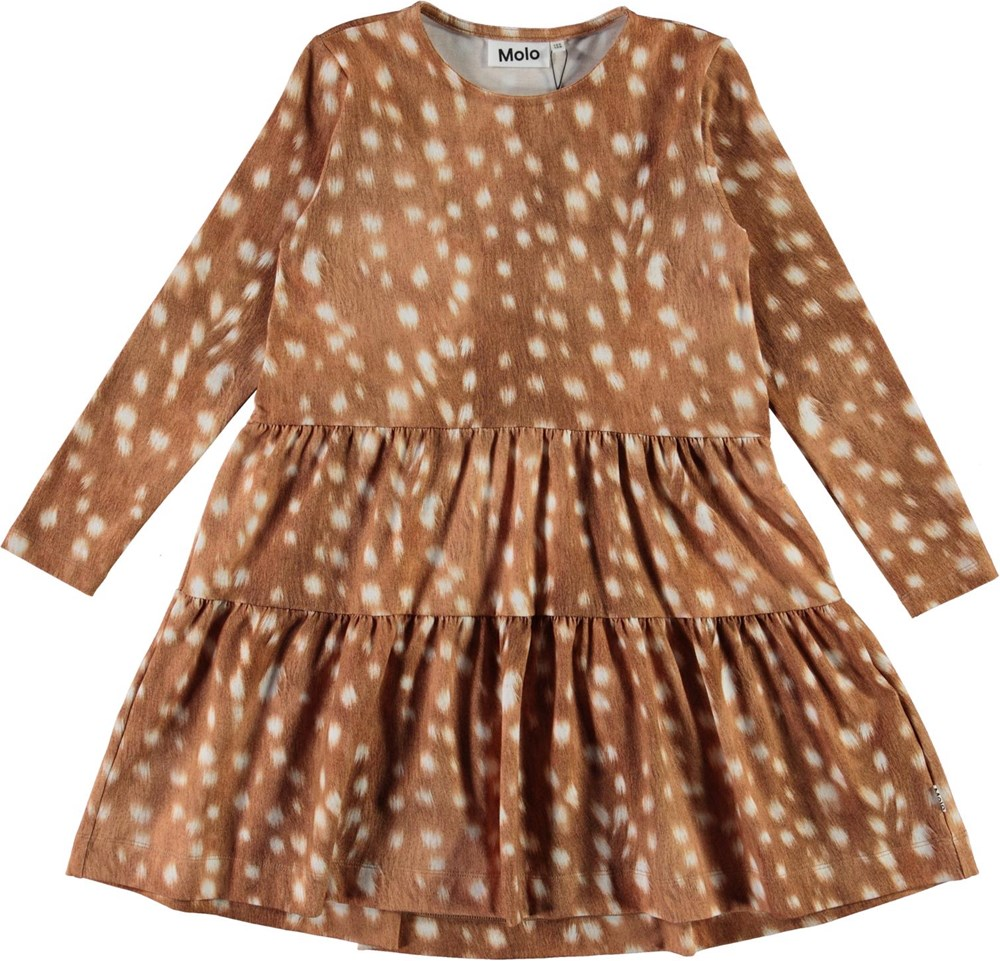 Chia - Baby Fawns - Brown organic dress with white spots and collar