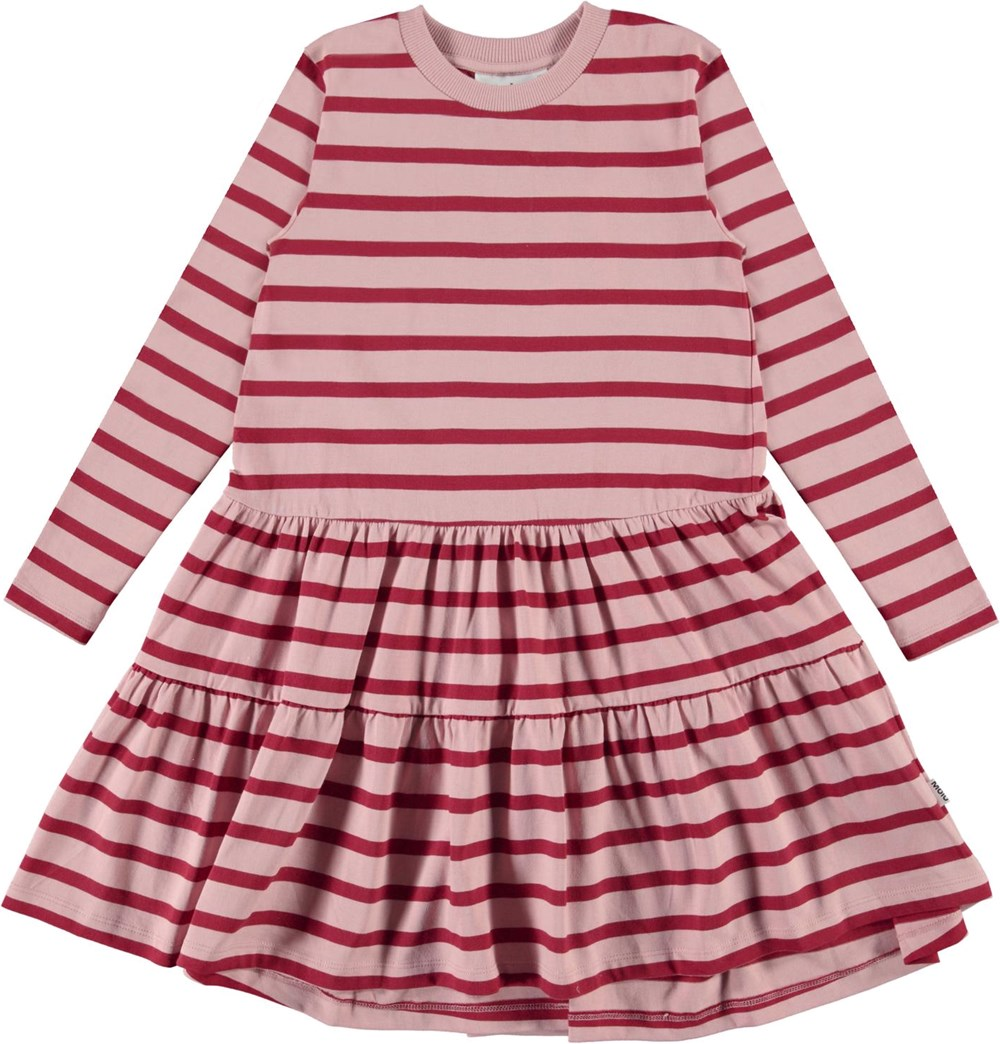 Chia - Rosequatz Breton - Pink and red striped organic dress