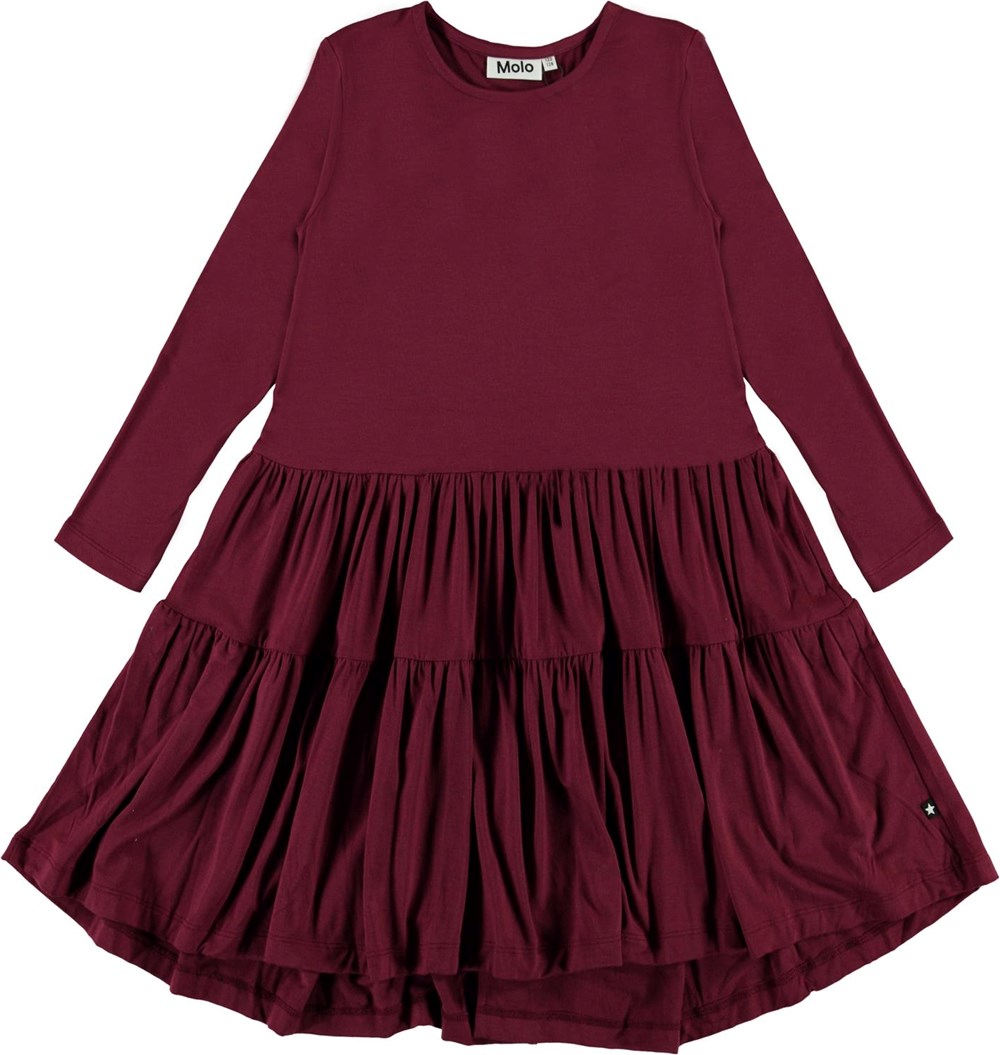 Chia - Sumak - Dark red jersey dress