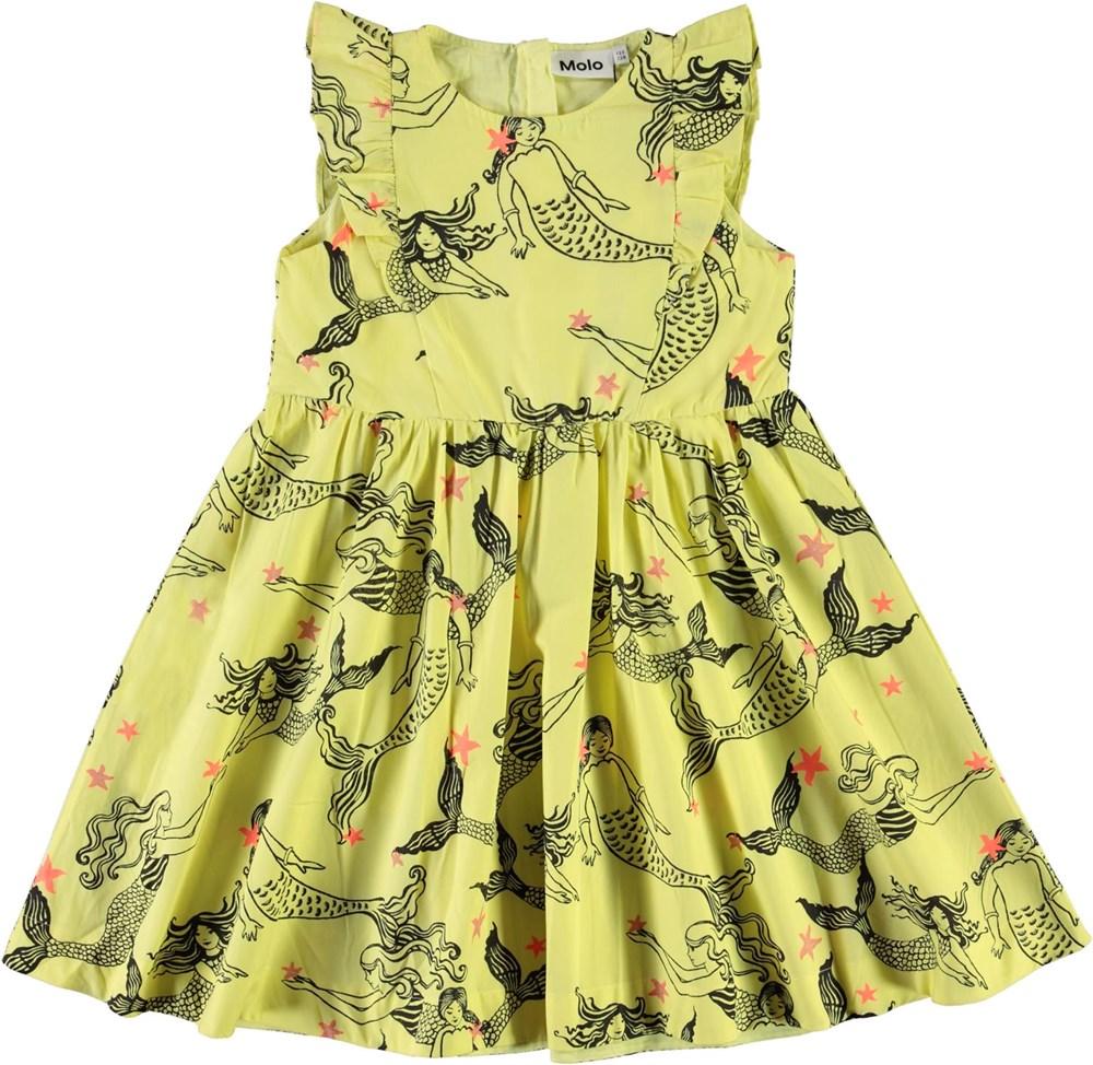 Chika - Mermazing - Yellow organic dress with mermaids