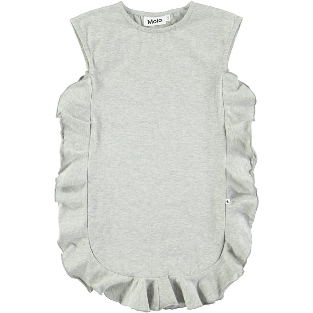 Cho - Light Grey Melange - Sleeveless grey dress with ruffles