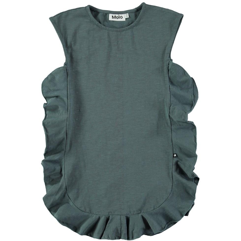 Cho - Shadow - Sleeveless, dark green dress with ruffles