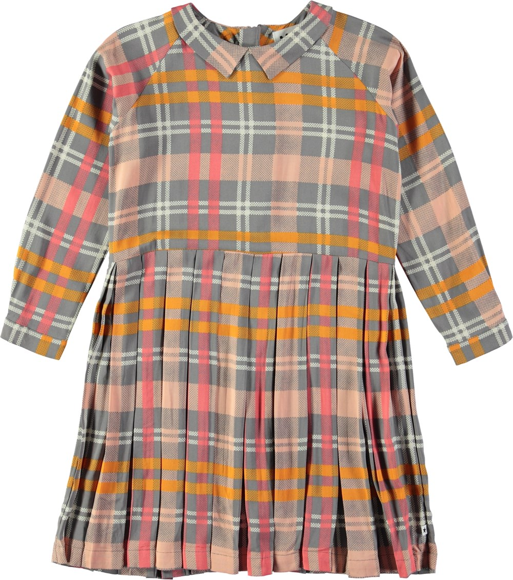 Chrissy - Printed Check - Plaid dress with collar and wide pleats