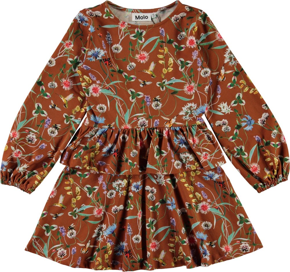 Christabelle - Wildflowers - Brown organic dress with flowers and skirt