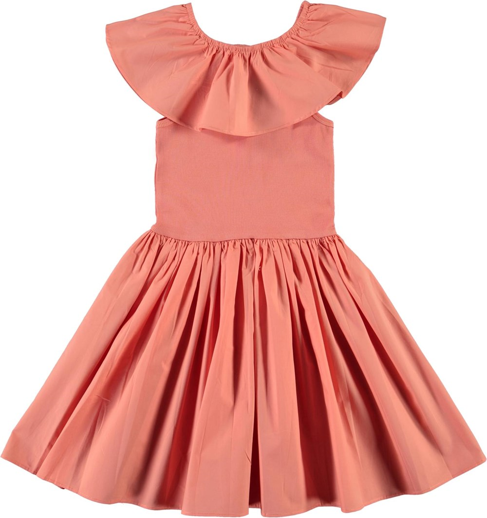 Christal - Burnt Coral - Coral coloured organic dress with ruffle collar