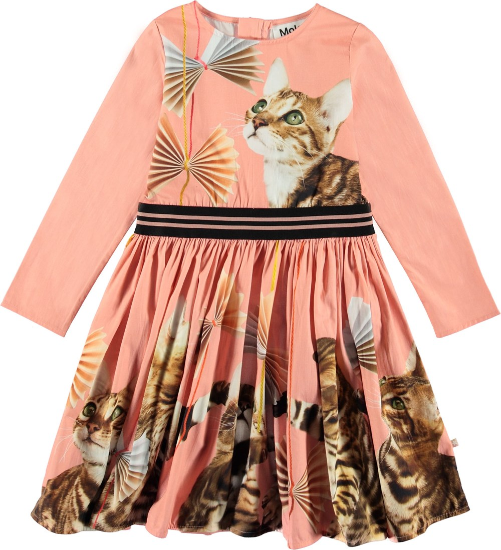 Christin - Bengal Beauty - Coral coloured dress with cats.