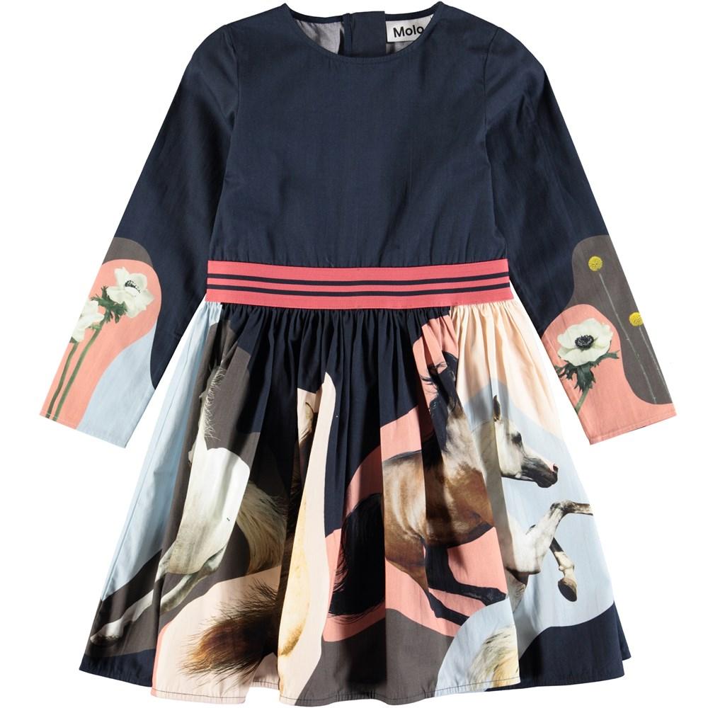 Christin - Northen Horse Spirit - Sweet, dark blue poplin dress with digital horse print